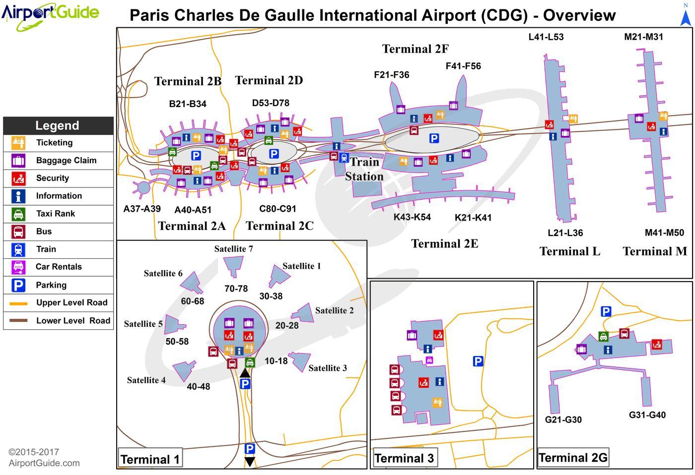 Cdg Airport Terminal Kort Charles De Gaulle Lufthavn Terminal