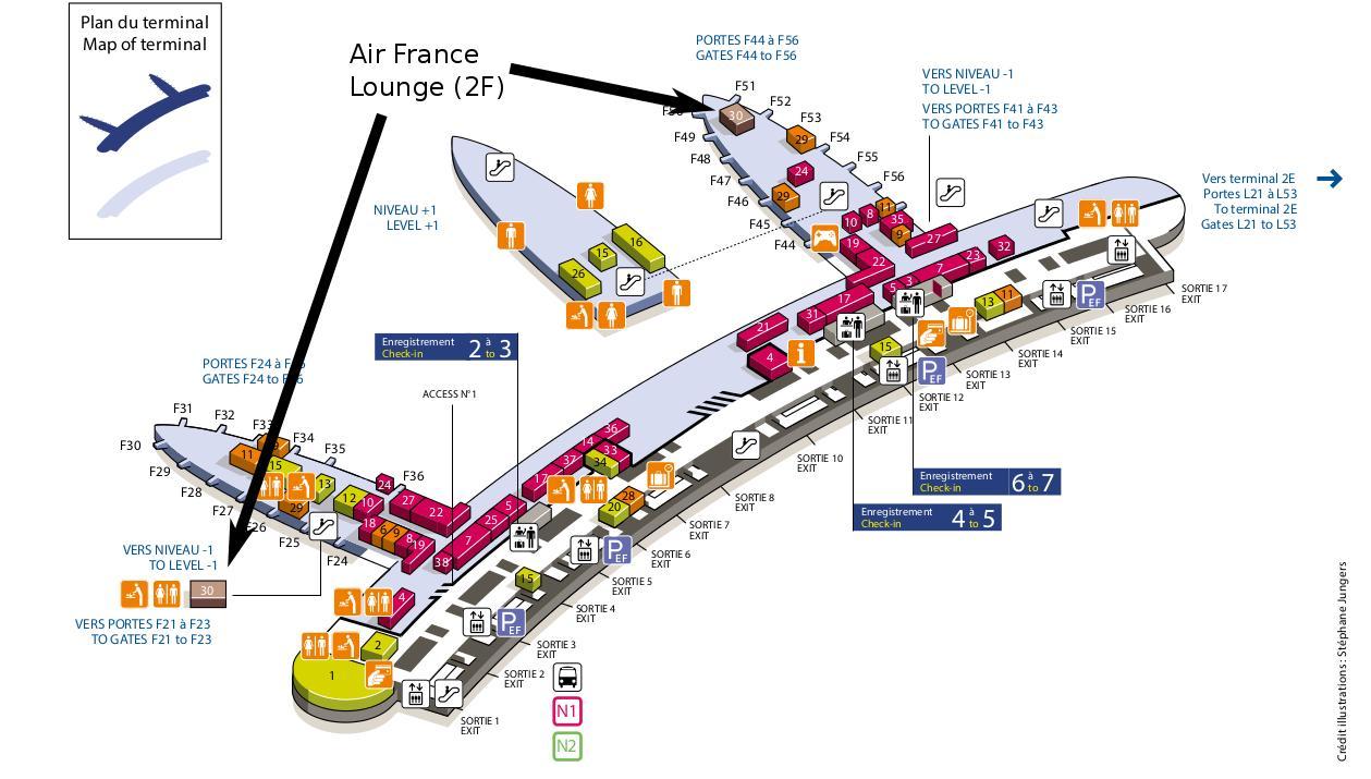 Cdg Terminal 2f Kort Charles De Gaulle Lufthavn Kort Terminal 2e