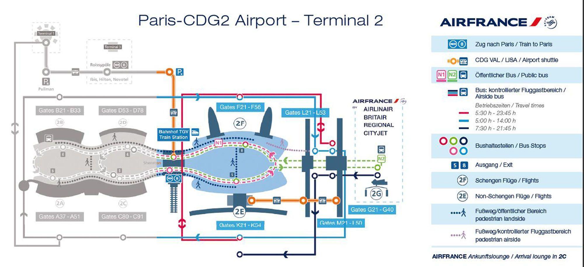 Charles De Gaulle Lufthavn Kort Terminal 2 Terminal 2 Kort Cdg