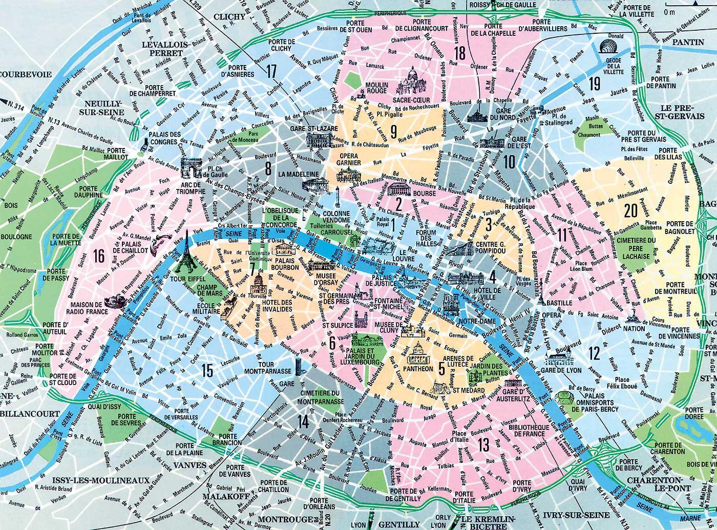 Kort Paris Arrondissement Kort Af Arrondissement I Paris