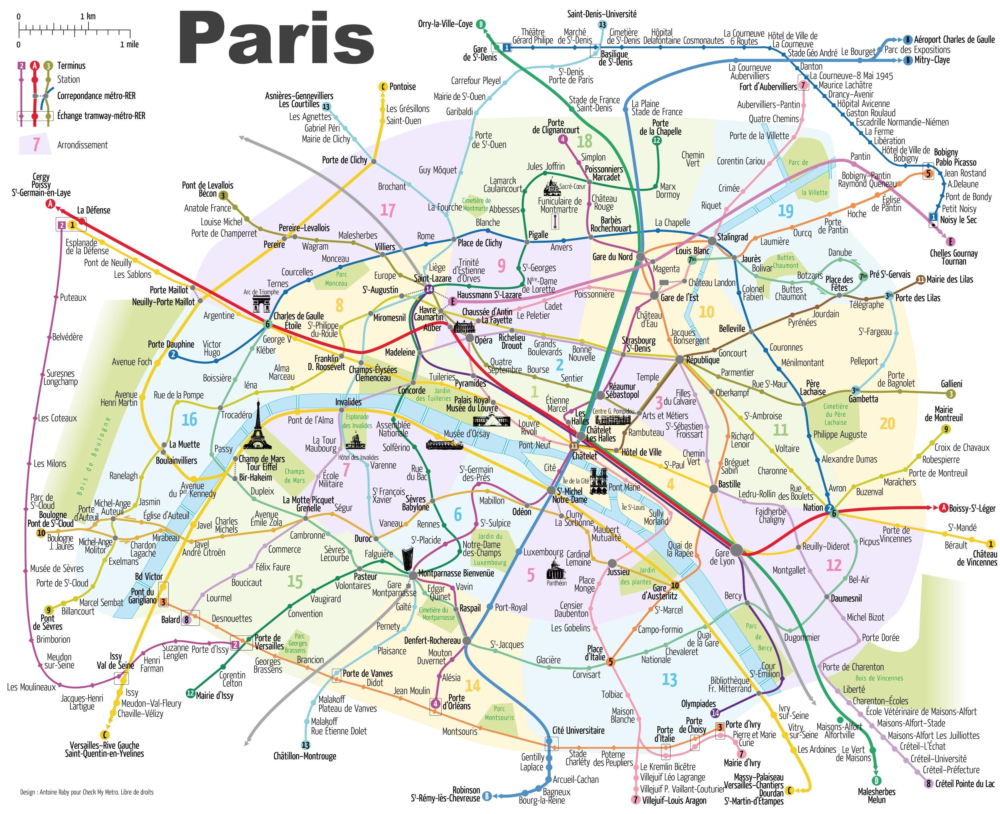 Paris metro kort med seværdigheder - Paris tube map, med ...