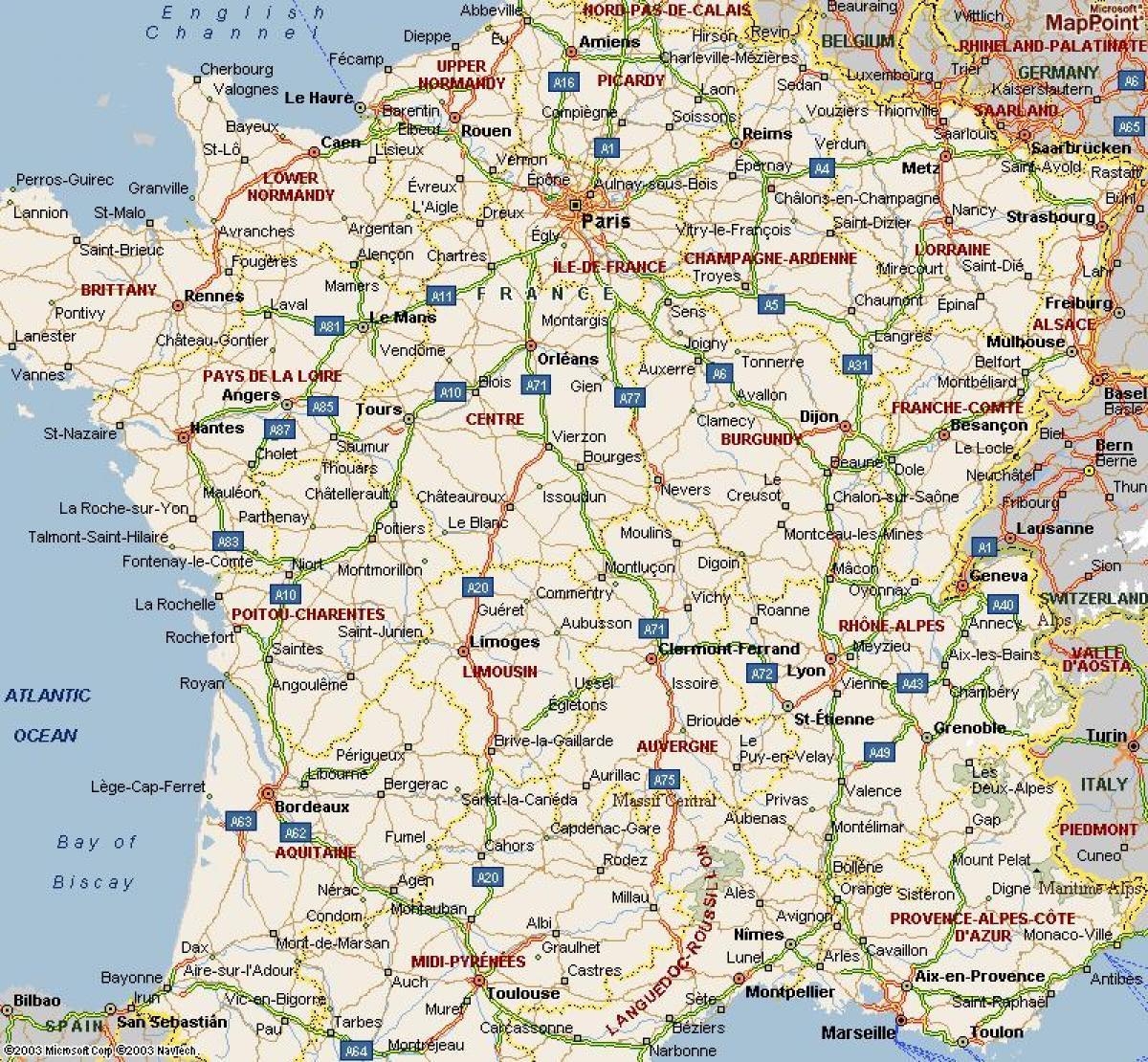 A4 Kort Over Frankrig Kort I A4 Frankrig Ile De France France
