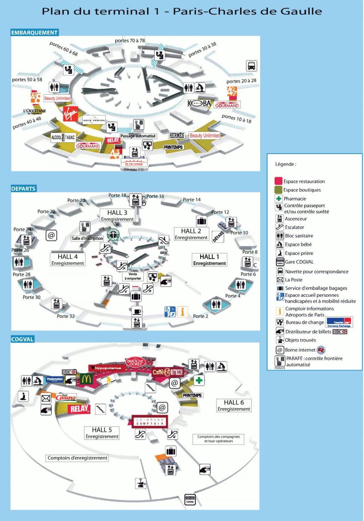 Cdg Terminal 1 Kort Charles De Gaulle Lufthavn Kort Terminal 1
