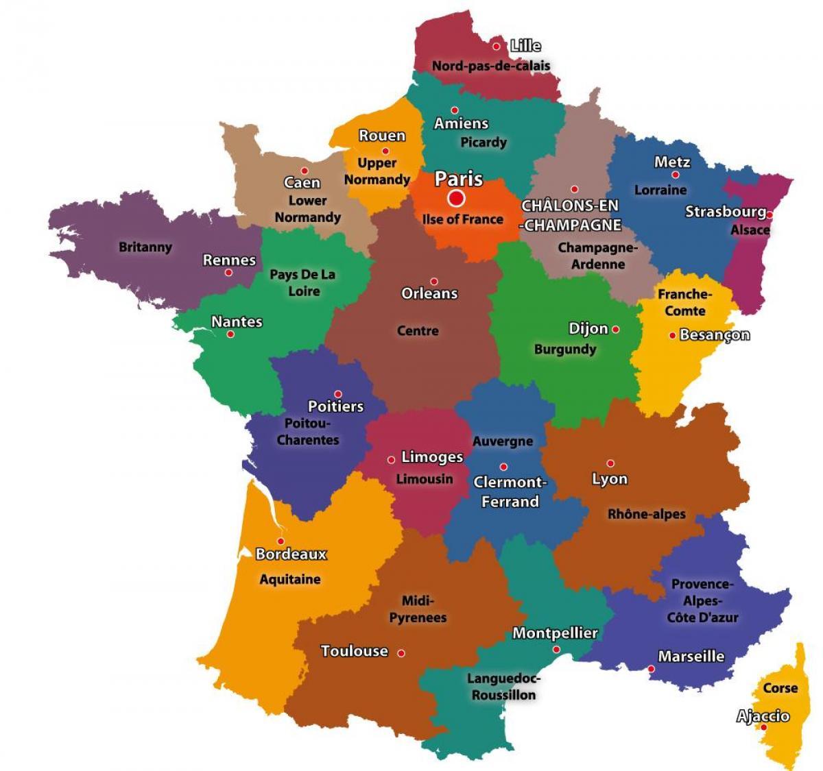 Kort Over Frankrig Der Viser Paris Kort Over Frankrig Og Paris