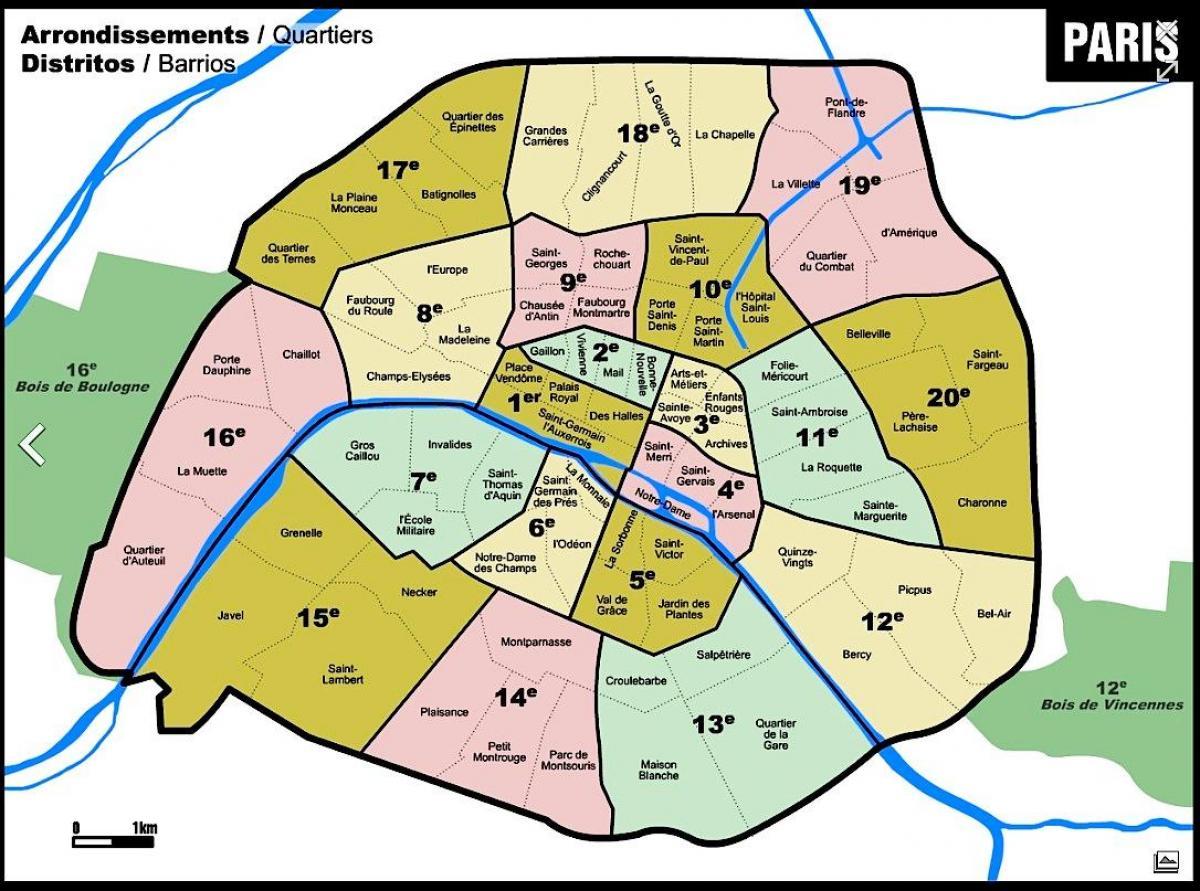 Kort Over Paris Med Arrondissement Omrader Kort Over Paris Med
